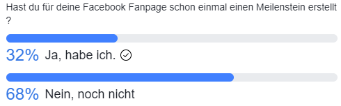 Meilensteine auf Facebook - Umfrageergebnis